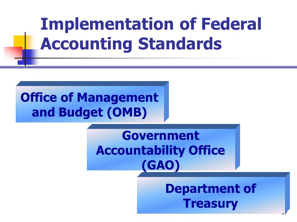 17 Implementation of Federal Accounting Standards Office of Management and Budget (OMB) Government Accountability Office (GAO) Department of Treasury