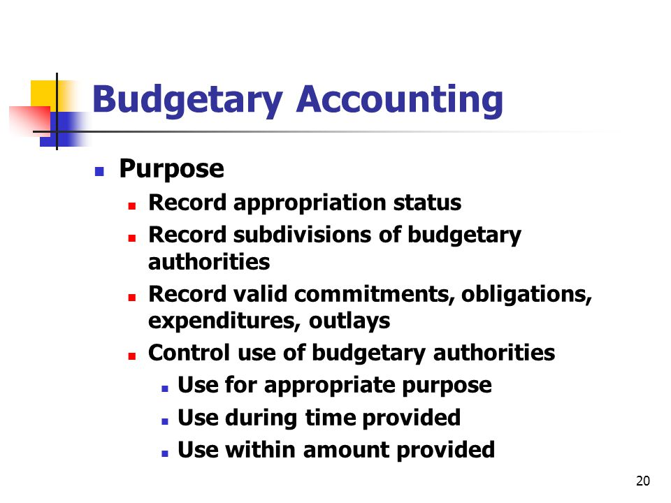 20 Budgetary Accounting Purpose Record appropriation status Record subdivisions of budgetary authorities Record valid commitments, obligations, expend