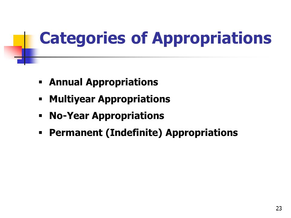 23 Categories of Appropriations  Annual Appropriations  Multiyear Appropriations  No-Year Appropriations  Permanent (Indefinite) Appropriations