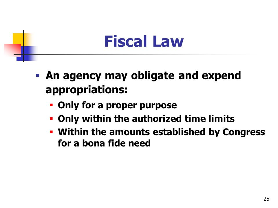 25 Fiscal Law  An agency may obligate and expend appropriations:  Only for a proper purpose  Only within the authorized time limits  Within the am