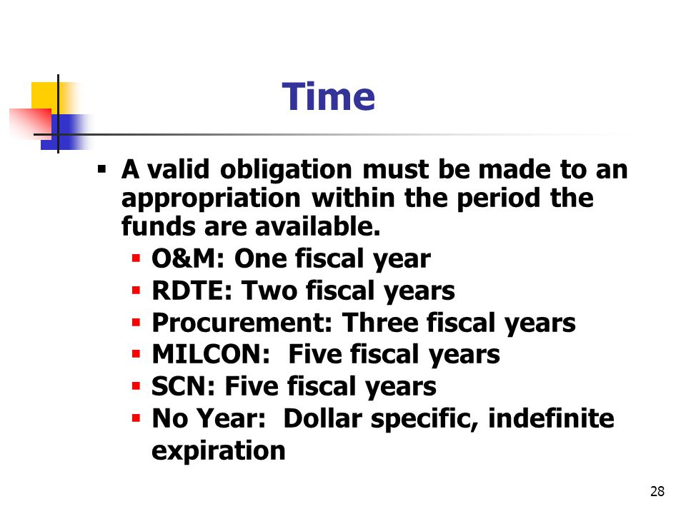 28 Time  A valid obligation must be made to an appropriation within the period the funds are available.  O&M: One fiscal year  RDTE: Two fiscal yea