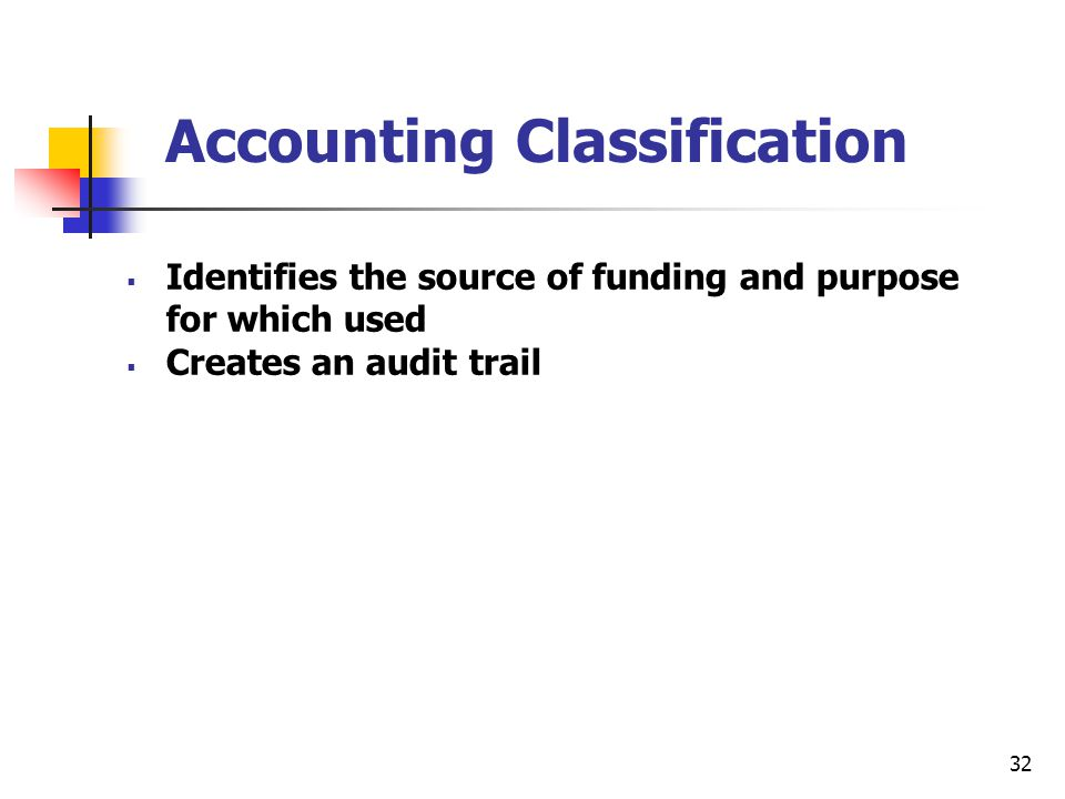 32 Accounting Classification  Identifies the source of funding and purpose for which used  Creates an audit trail