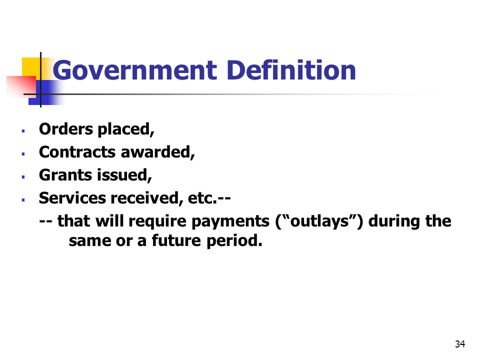 """34  Orders placed,  Contracts awarded,  Grants issued,  Services received, etc.-- -- that will require payments (""""outlays"""") during the same or a f"""