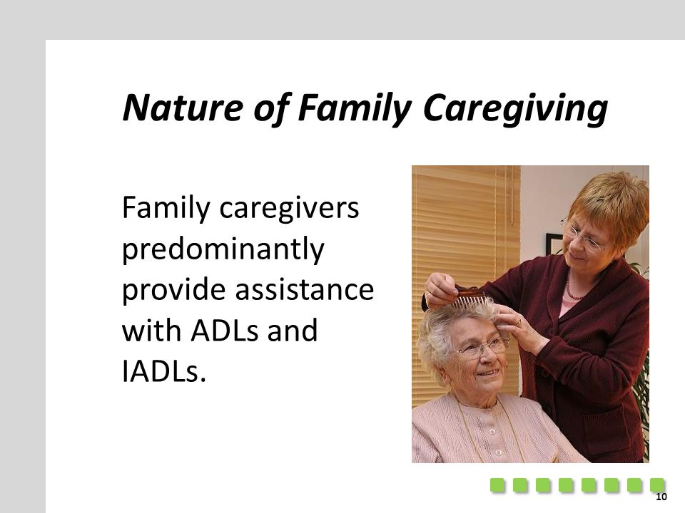 Nature of Family Caregiving Family caregivers predominantly provide assistance with ADLs and IADLs. 10