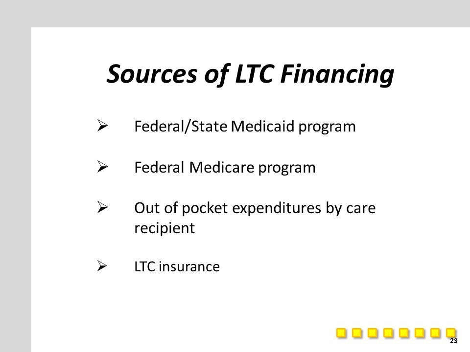 Sources of LTC Financing  Federal/State Medicaid program  Federal Medicare program  Out of pocket expenditures by care recipient  LTC insurance 23