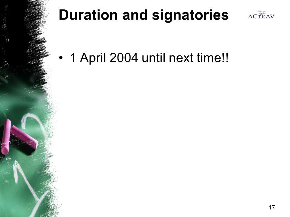 17 Duration and signatories 1 April 2004 until next time!!