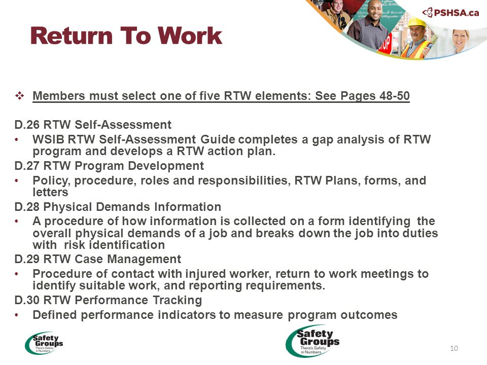  Members must select one of five RTW elements: See Pages 48-50 D.26 RTW Self-Assessment WSIB RTW Self-Assessment Guide completes a gap analysis of RTW program and develops a RTW action plan.