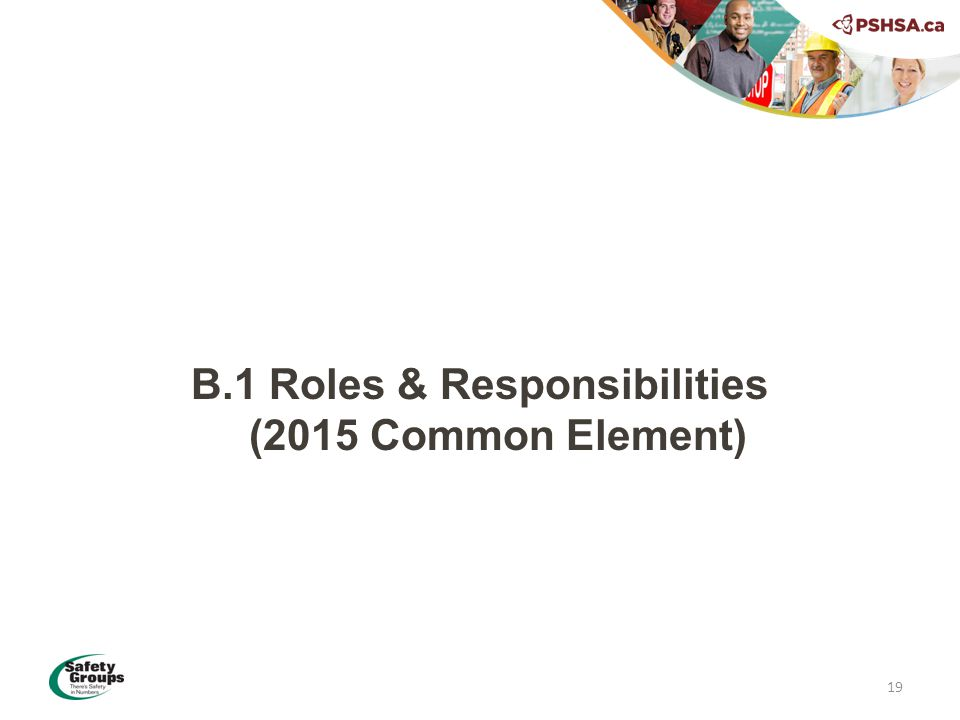B.1 Roles & Responsibilities (2015 Common Element) 19