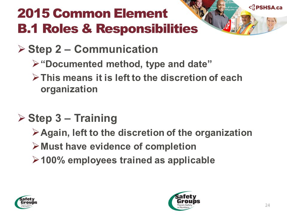  Step 2 – Communication  Documented method, type and date  This means it is left to the discretion of each organization  Step 3 – Training  Again, left to the discretion of the organization  Must have evidence of completion  100% employees trained as applicable 2015 Common Element B.1 Roles & Responsibilities 24