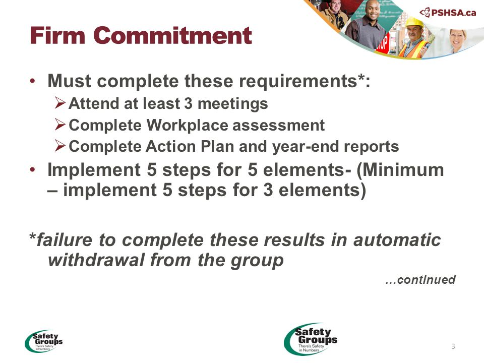 Must complete these requirements*:  Attend at least 3 meetings  Complete Workplace assessment  Complete Action Plan and year-end reports Implement 5 steps for 5 elements- (Minimum – implement 5 steps for 3 elements) *failure to complete these results in automatic withdrawal from the group …continued Firm Commitment 3