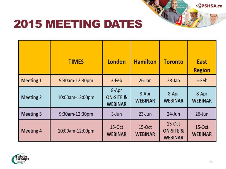 2015 MEETING DATES 32