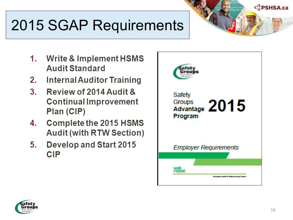 58 1.Write & Implement HSMS Audit Standard 2.Internal Auditor Training 3.Review of 2014 Audit & Continual Improvement Plan (CIP) 4.Complete the 2015 HSMS Audit (with RTW Section) 5.Develop and Start 2015 CIP 2015 SGAP Requirements