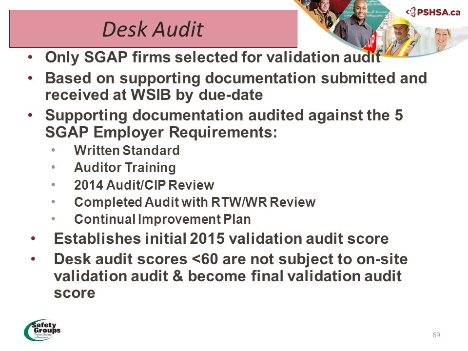 Only SGAP firms selected for validation audit Based on supporting documentation submitted and received at WSIB by due-date Supporting documentation audited against the 5 SGAP Employer Requirements: Written Standard Auditor Training 2014 Audit/CIP Review Completed Audit with RTW/WR Review Continual Improvement Plan Establishes initial 2015 validation audit score Desk audit scores <60 are not subject to on-site validation audit & become final validation audit score 69 Desk Audit