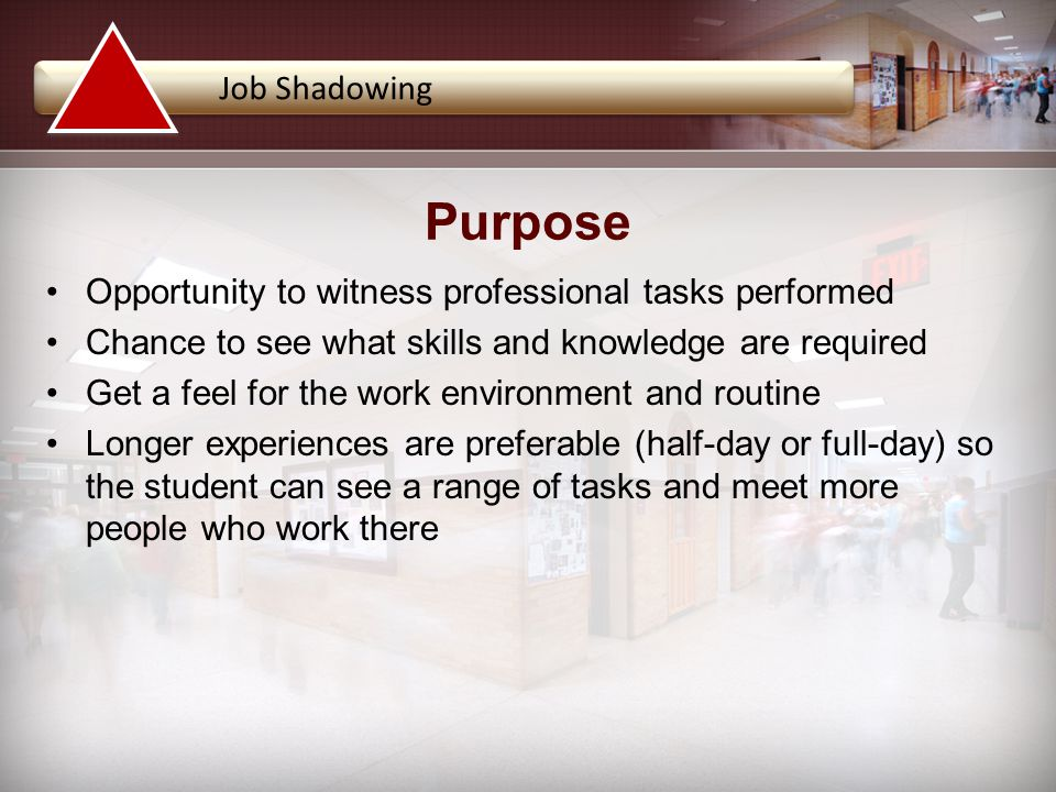 Opportunity to witness professional tasks performed Chance to see what skills and knowledge are required Get a feel for the work environment and routine Longer experiences are preferable (half-day or full-day) so the student can see a range of tasks and meet more people who work there Job Shadowing Purpose