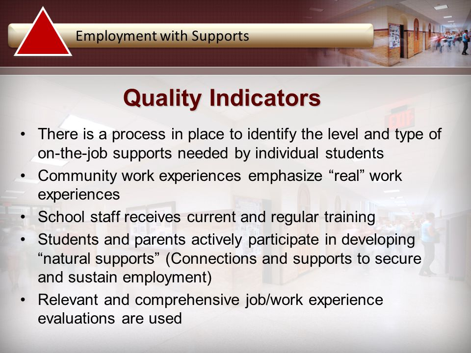 There is a process in place to identify the level and type of on-the-job supports needed by individual students Community work experiences emphasize ""