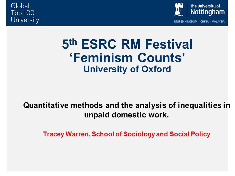 5 th ESRC RM Festival 'Feminism Counts' University of Oxford Quantitative methods and the analysis of inequalities in unpaid domestic work. Tracey War