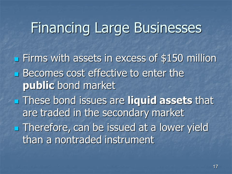 17 Financing Large Businesses Firms with assets in excess of $150 million Firms with assets in excess of $150 million Becomes cost effective to enter