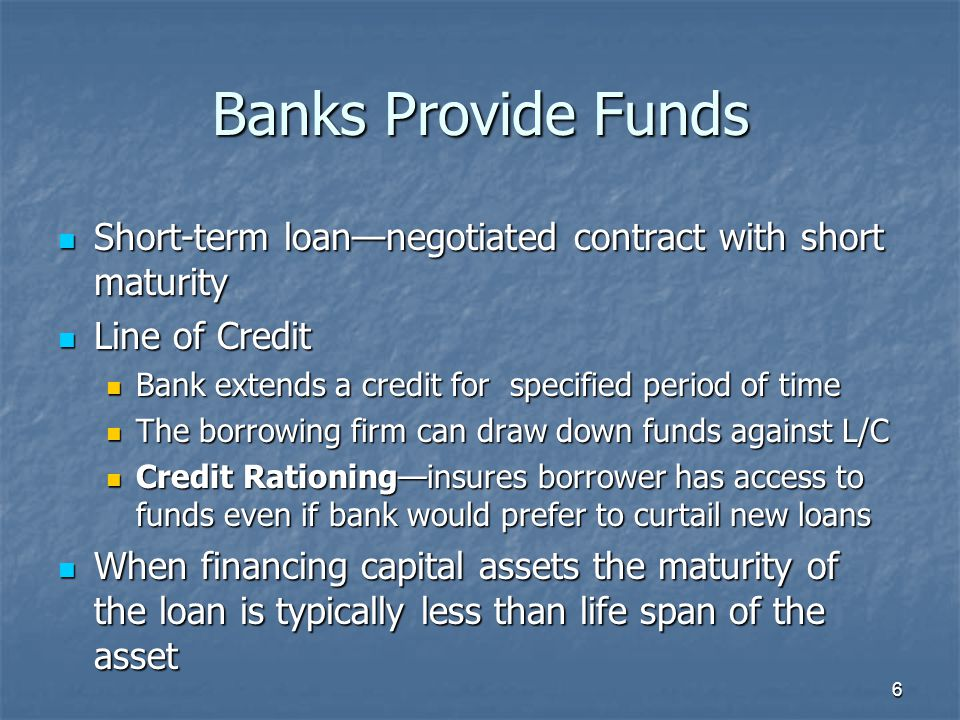 7 Bank Loan Origination Locate a bank that meets your needs, usually through a referral Locate a bank that meets your needs, usually through a referral The bank's loan officer conducts a complete credit analysis The bank's loan officer conducts a complete credit analysis Review borrower's financial statements Review borrower's financial statements Visit the place of business Visit the place of business Assesses the managerial strengths/weaknesses of borrower Assesses the managerial strengths/weaknesses of borrower Provides an opportunity to develop a one-on- one relationship Provides an opportunity to develop a one-on- one relationship