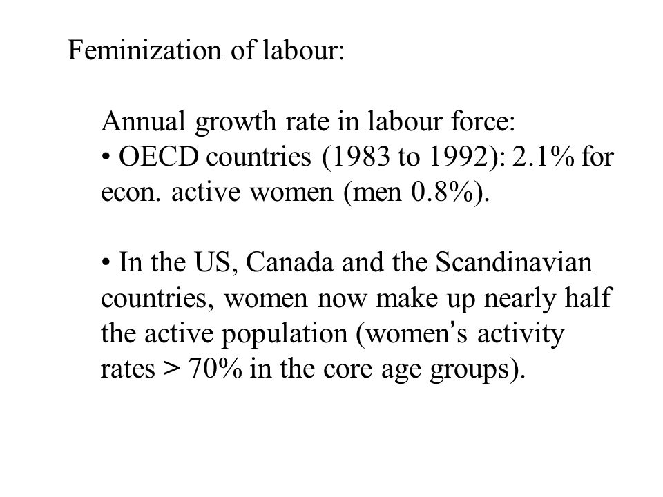 Canada: Certain sectors are feminized Clothing and textile industries Women are vulnerable workers: Hiring: discrimination Work conditions: poor Migrant women Dependent on a male breadwinner Derived rights of settlement