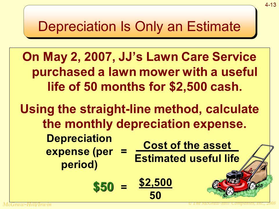 © The McGraw-Hill Companies, Inc., 2008 McGraw-Hill/Irwin 4-13 On May 2, 2007, JJ's Lawn Care Service purchased a lawn mower with a useful life of 50