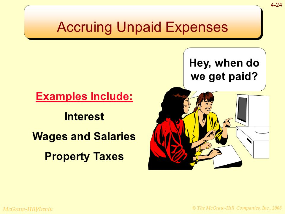 © The McGraw-Hill Companies, Inc., 2008 McGraw-Hill/Irwin 4-24 Examples Include: Interest Wages and Salaries Property Taxes Hey, when do we get paid.