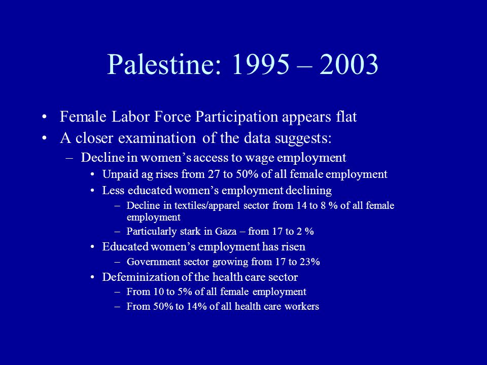 Palestine: 1995 – 2003 Female Labor Force Participation appears flat A closer examination of the data suggests: –Decline in women's access to wage emp