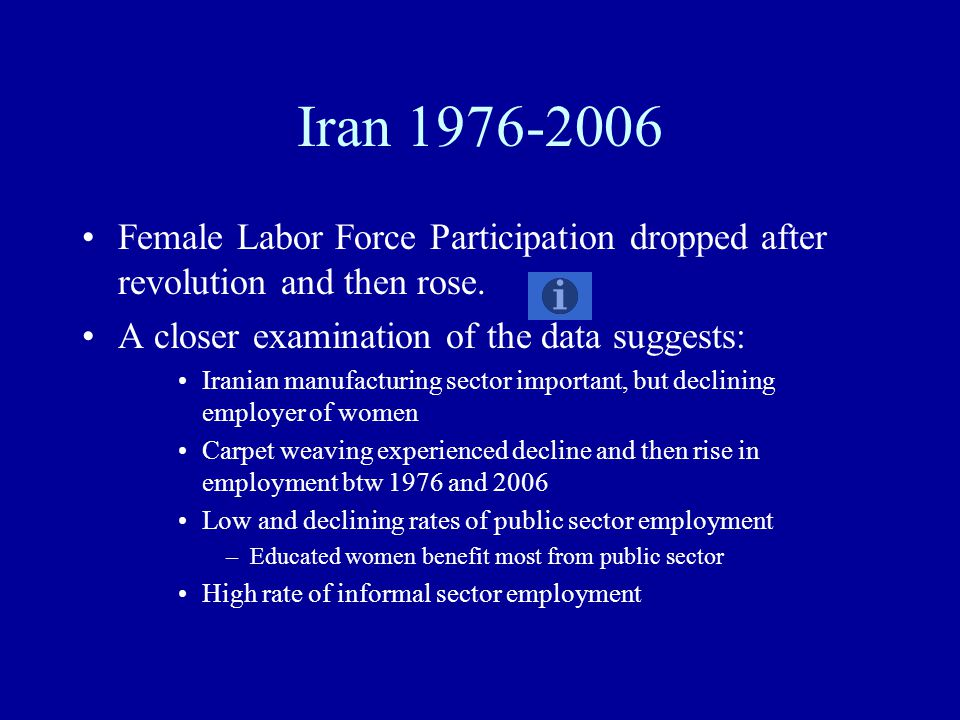 Iran 1976-2006 Female Labor Force Participation dropped after revolution and then rose. A closer examination of the data suggests: Iranian manufacturi