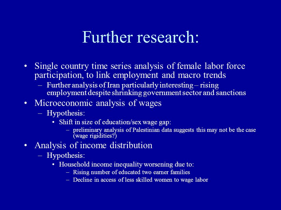 Further research: Single country time series analysis of female labor force participation, to link employment and macro trends –Further analysis of Ir
