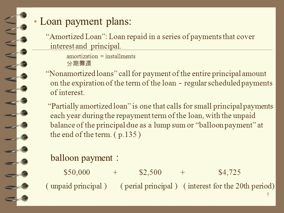 "5 Loan payment plans: ""Amortized Loan"": Loan repaid in a series of payments that cover interest and principal. ""Nonamortized loans"" call for payment o"