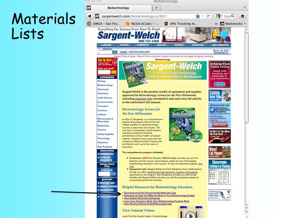 Materials Lists