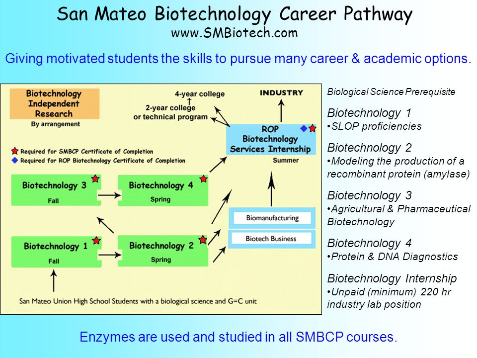 San Mateo Biotechnology Career Pathway www.SMBiotech.com Giving motivated students the skills to pursue many career & academic options.