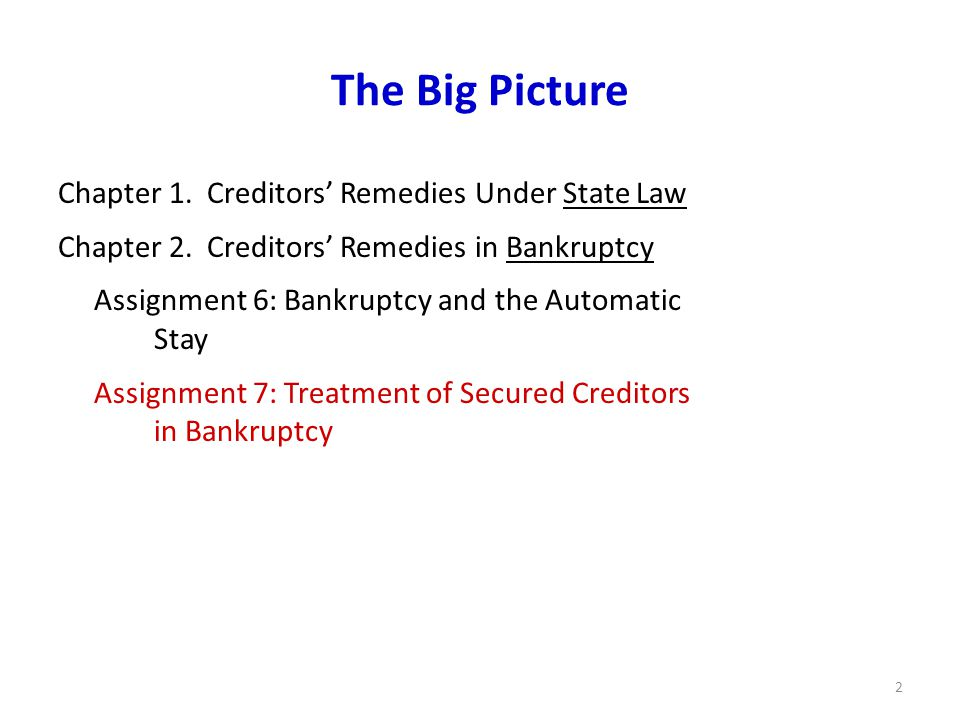 2 The Big Picture Chapter 1. Creditors' Remedies Under State Law Chapter 2.