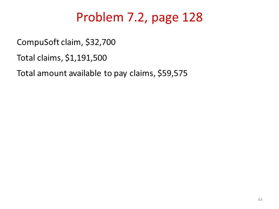 44 CompuSoft claim, $32,700 Total claims, $1,191,500 Total amount available to pay claims, $59,575 Problem 7.2, page 128