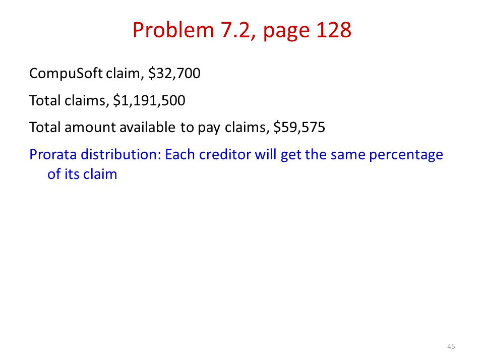 45 CompuSoft claim, $32,700 Total claims, $1,191,500 Total amount available to pay claims, $59,575 Prorata distribution: Each creditor will get the same percentage of its claim Problem 7.2, page 128