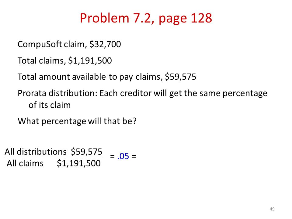 49 CompuSoft claim, $32,700 Total claims, $1,191,500 Total amount available to pay claims, $59,575 Prorata distribution: Each creditor will get the same percentage of its claim What percentage will that be.