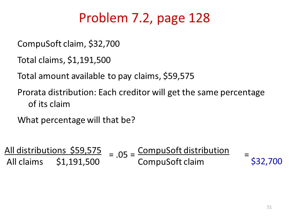 51 CompuSoft claim, $32,700 Total claims, $1,191,500 Total amount available to pay claims, $59,575 Prorata distribution: Each creditor will get the same percentage of its claim What percentage will that be.