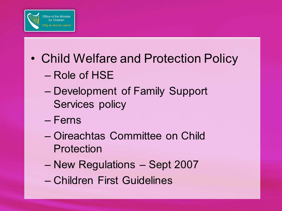Child Welfare and Protection Policy –Role of HSE –Development of Family Support Services policy –Ferns –Oireachtas Committee on Child Protection –New Regulations – Sept 2007 –Children First Guidelines
