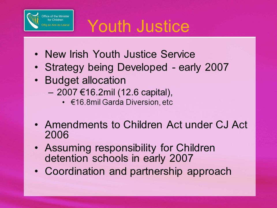 Youth Justice New Irish Youth Justice Service Strategy being Developed - early 2007 Budget allocation –2007 €16.2mil (12.6 capital), €16.8mil Garda Diversion, etc Amendments to Children Act under CJ Act 2006 Assuming responsibility for Children detention schools in early 2007 Coordination and partnership approach