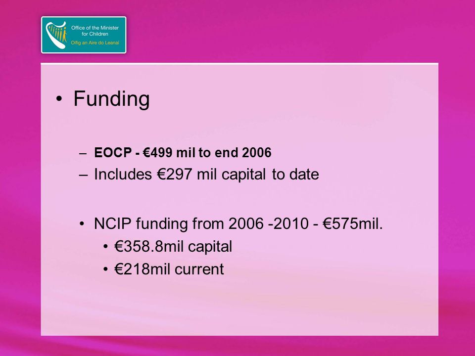 Funding –EOCP - €499 mil to end 2006 –Includes €297 mil capital to date NCIP funding from 2006 -2010 - €575mil.