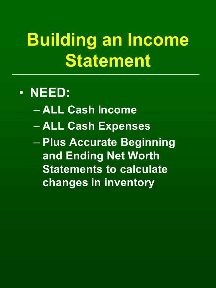 Building an Income Statement NEED: –ALL Cash Income –ALL Cash Expenses –Plus Accurate Beginning and Ending Net Worth Statements to calculate changes in inventory