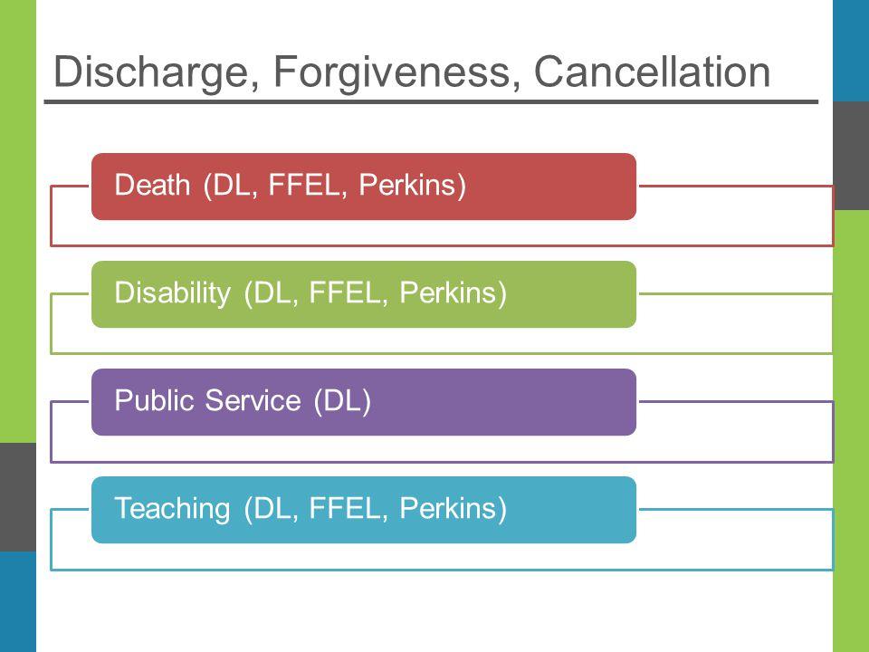 Discharge, Forgiveness, Cancellation Death (DL, FFEL, Perkins)Disability (DL, FFEL, Perkins)Public Service (DL)Teaching (DL, FFEL, Perkins)