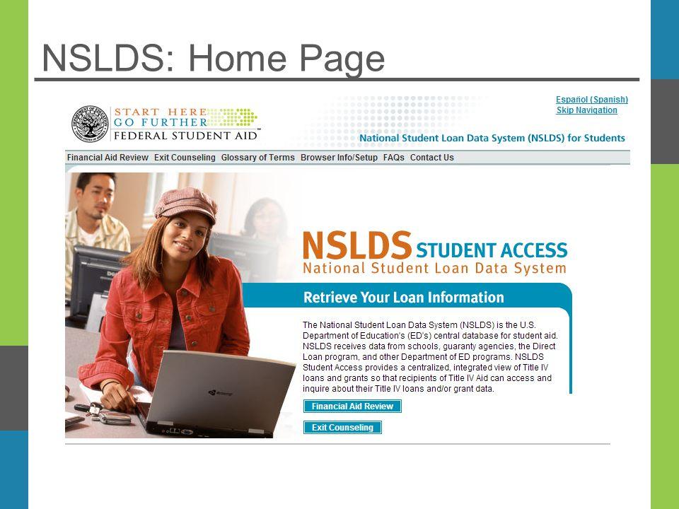 NSLDS: Home Page