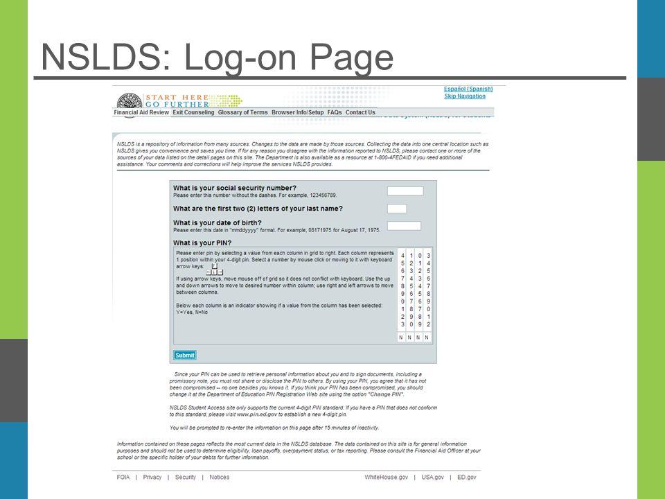 NSLDS: Log-on Page
