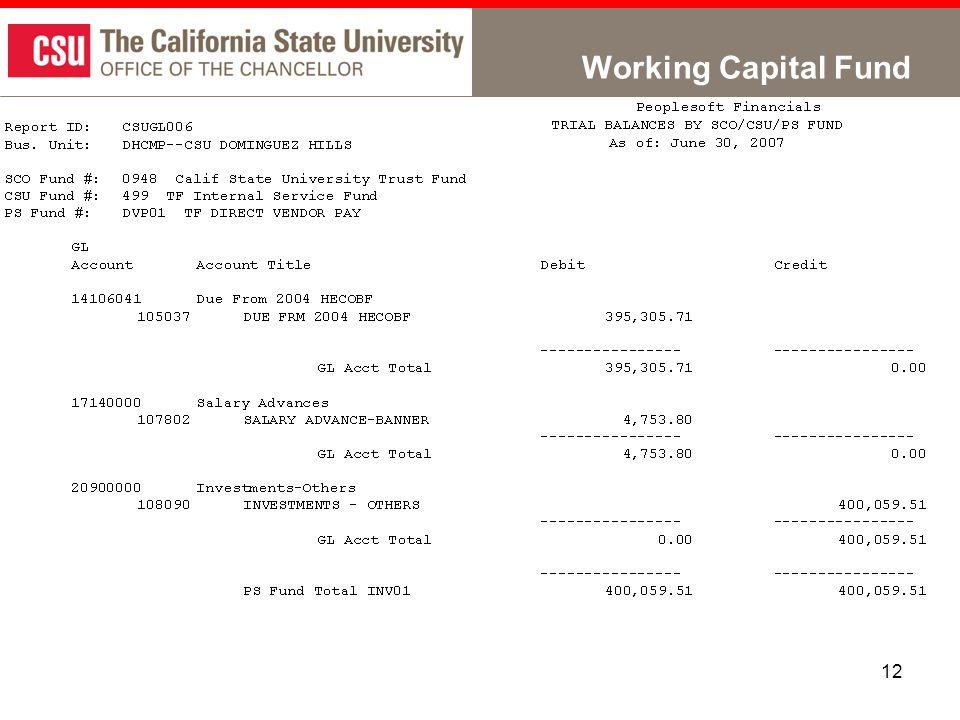 12 Working Capital Fund