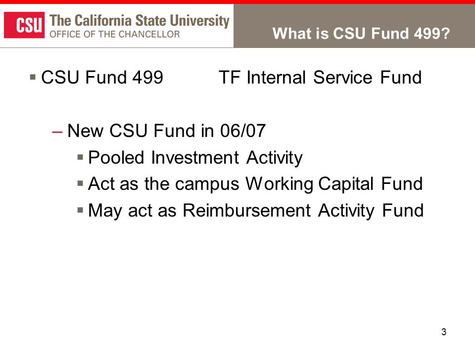 3 What is CSU Fund 499?  CSU Fund 499TF Internal Service Fund –New CSU Fund in 06/07  Pooled Investment Activity  Act as the campus Working Capital