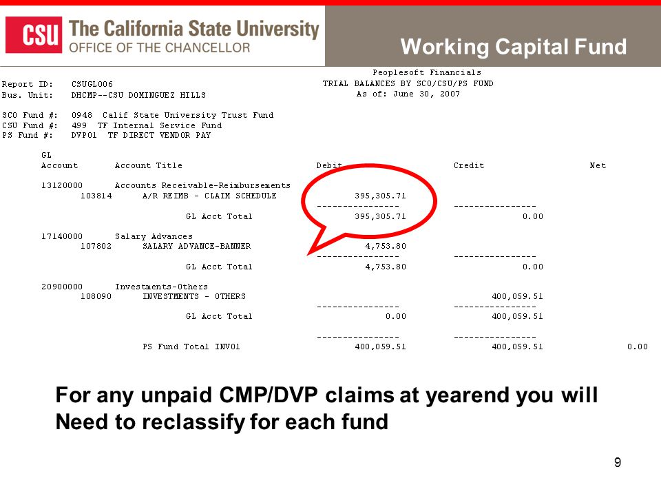 9 Working Capital Fund For any unpaid CMP/DVP claims at yearend you will Need to reclassify for each fund