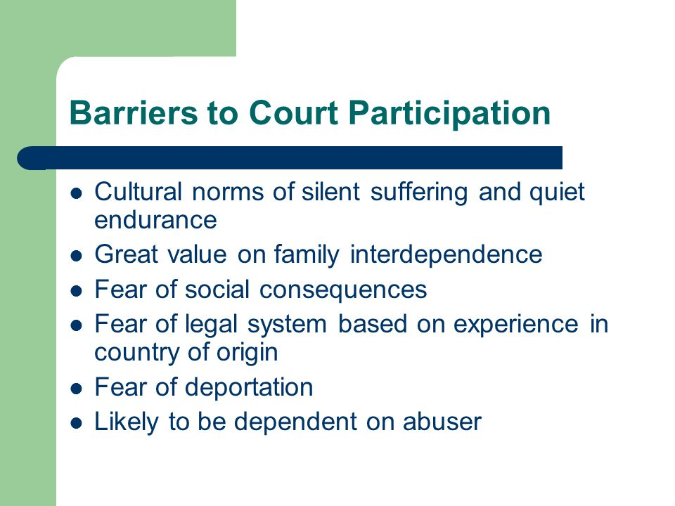 Barriers to Court Participation Cultural norms of silent suffering and quiet endurance Great value on family interdependence Fear of social consequences Fear of legal system based on experience in country of origin Fear of deportation Likely to be dependent on abuser