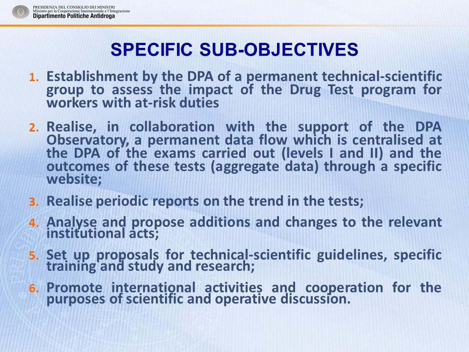 SPECIFIC SUB-OBJECTIVES 1.
