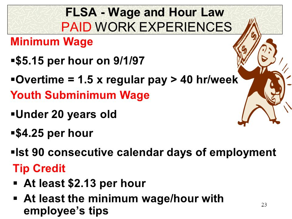 23 FLSA - Wage and Hour Law PAID WORK EXPERIENCES Tip Credit  At least $2.13 per hour  At least the minimum wage/hour with employee's tips Minimum Wage  $5.15 per hour on 9/1/97  Overtime = 1.5 x regular pay > 40 hr/week Youth Subminimum Wage  Under 20 years old  $4.25 per hour  lst 90 consecutive calendar days of employment