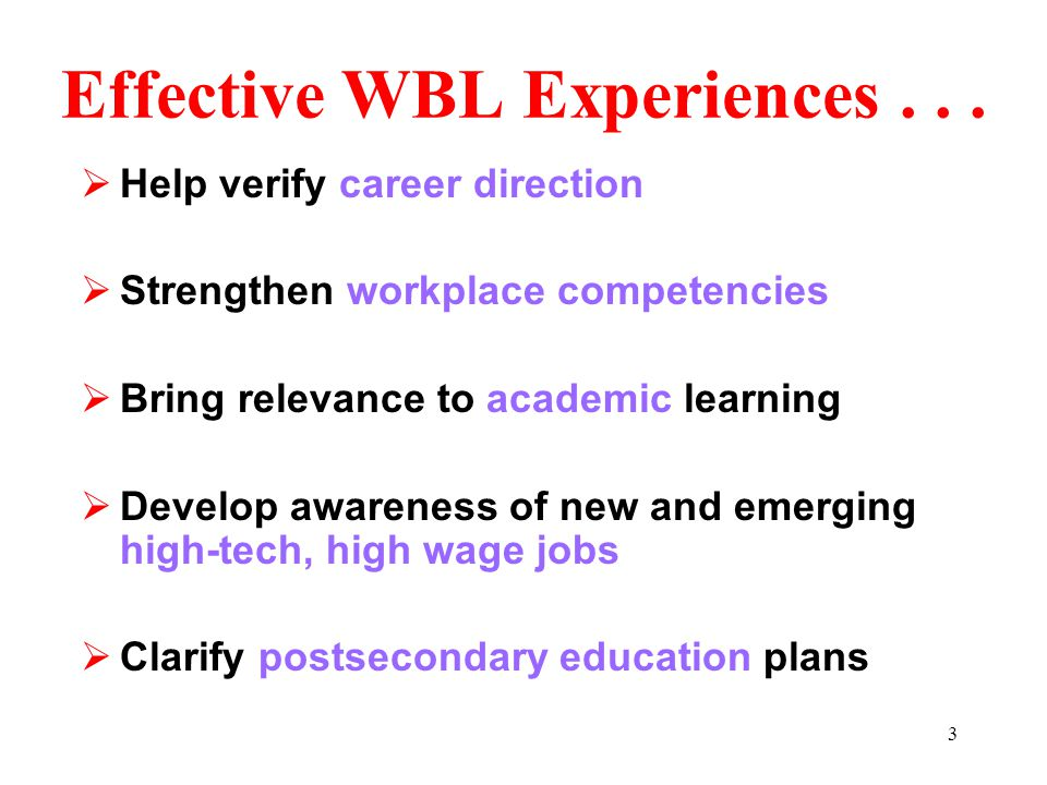 """2 Effective and Legal WBL Experiences Effective Experiences """"Employment"""" of Youth Under 18 Insurance/Liability Transportation Health/Safety Federal Fa"""